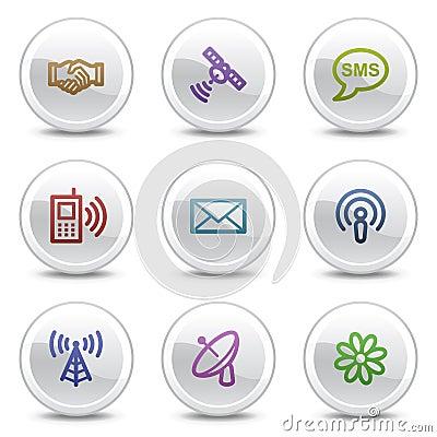 Communication web colour icons, circle buttons