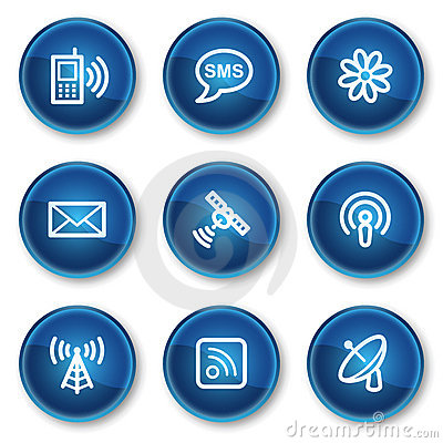 Communication web icons, blue circle buttons