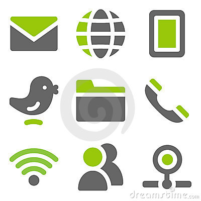 Communication web icons, green grey solid icons