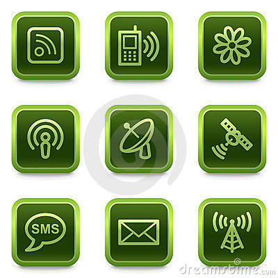 Communication web icons, green square buttons