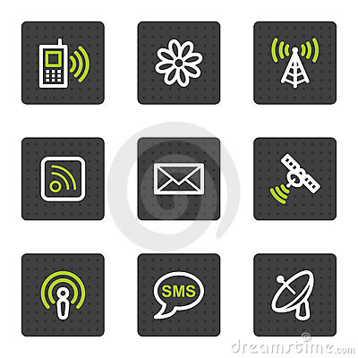 Communication web icons, grey square buttons