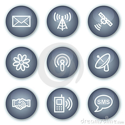 Communication web icons, mineral circle buttons