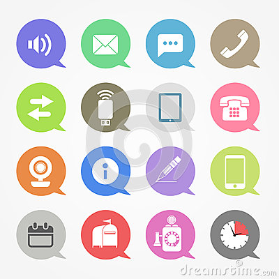 Communication web icons set