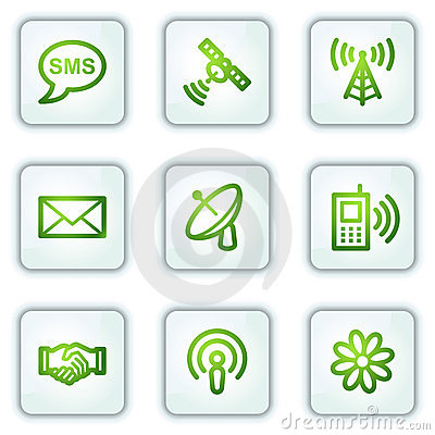 Communication web icons, white square buttons
