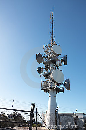 Communications Tower with Security Fence