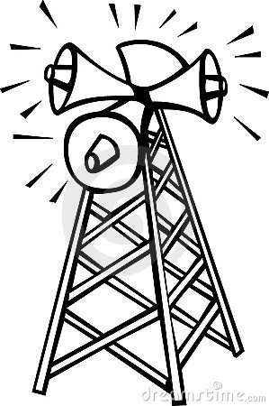 communications tower with speakers vector