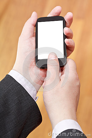 Communicator in businessman hands