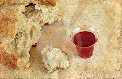Communion Bread Loaf and Wine Grunge