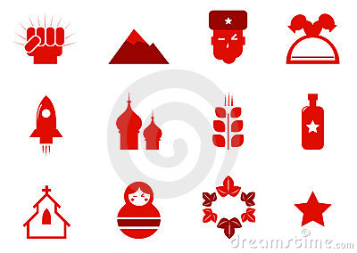 Communism and russia icons set