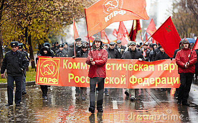 A communist demonstration in Samara, Russia Editorial Image