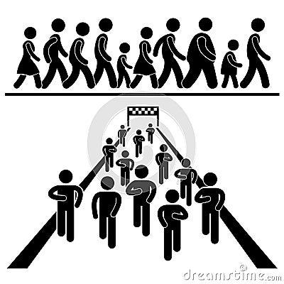 Free Community Walk Run Marching Marathon Pictograms Stock Photography - 29251042