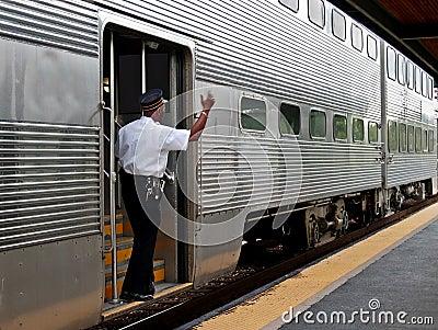 Commuter train conductor