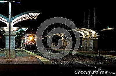 Commuter Train Station at Night