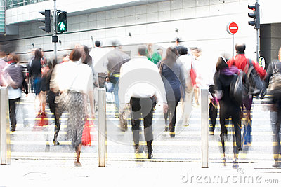 Commuters Crossing Busy Street
