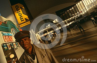 Commuters at a Johannesburg station Editorial Stock Photo