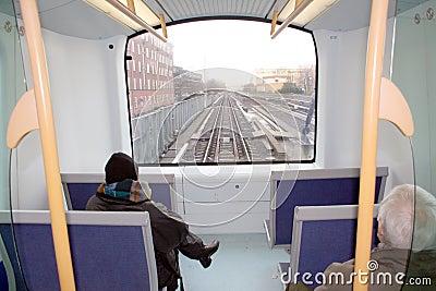 Commuters on metro train