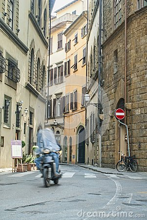 Commuters on Narrow Streets Editorial Stock Photo
