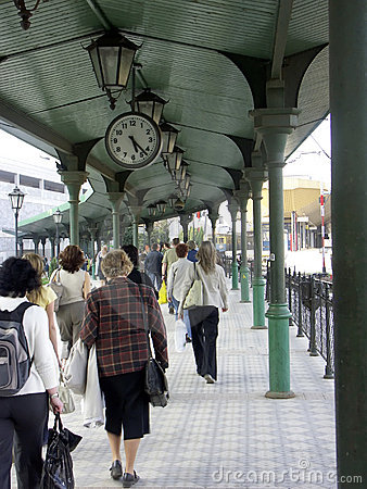 Commuters at the railway station platform