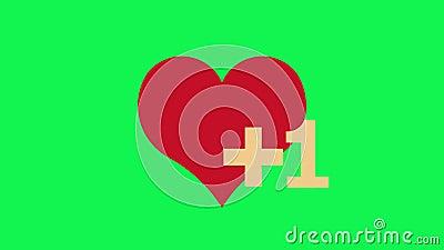 Como notificación de corazón, animación en redes sociales. Fondo verde almacen de video