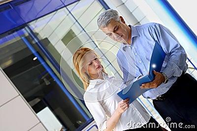 Compañeros de trabajo que repasan documentos