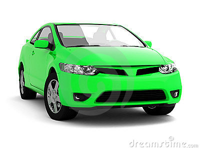 Compact bright green car