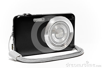 Compact camera from the side with strap