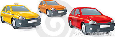 Compact city cars, taxi. Vector