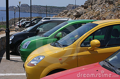 Compact colorful car parking