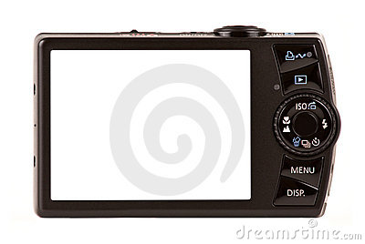 Compact digital camera rear view isolated on white