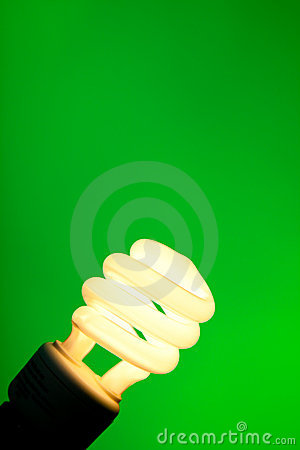 Compact Flourescent On Green Stock Images - Image: 10675814