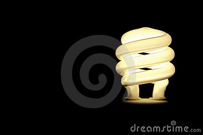 Compact flourescent light bulb with copy space