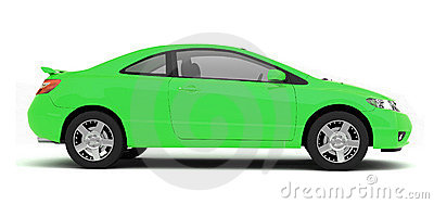 Compact green car side view