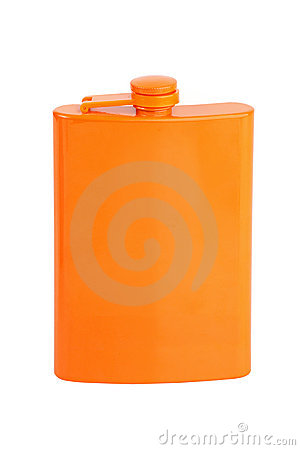 Compact metal flask for alcohol