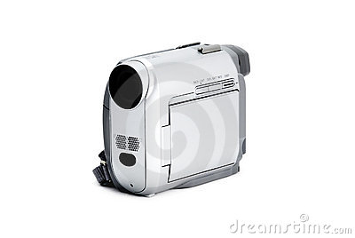 Compact video camera isolated over white