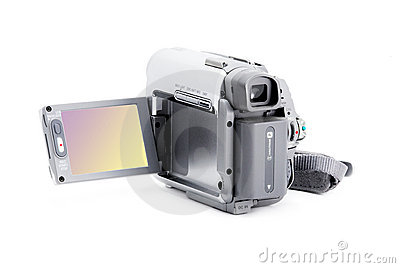 Compact video camera with viewfinder over white
