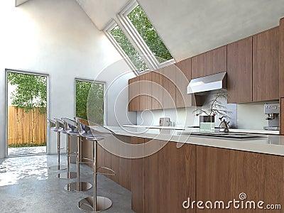 Compacte keuken met een barteller en krukken stock illustratie afbeelding 43588648 - Eigentijdse bar ...