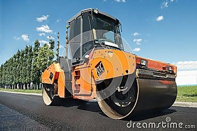Compactor at asphalt pavement works