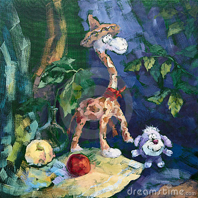 Companhia doce do Giraffe e do cão