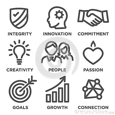 Free Company Core Values Outline Icons Stock Images - 74219044