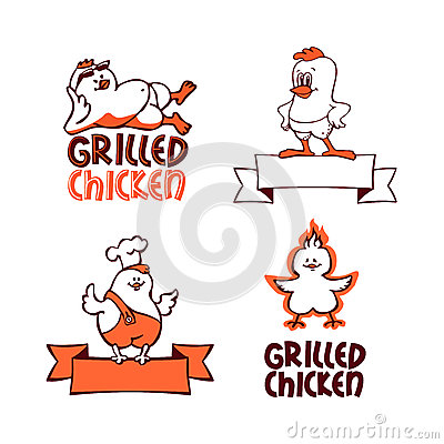 Company logo set. Grilled chicken
