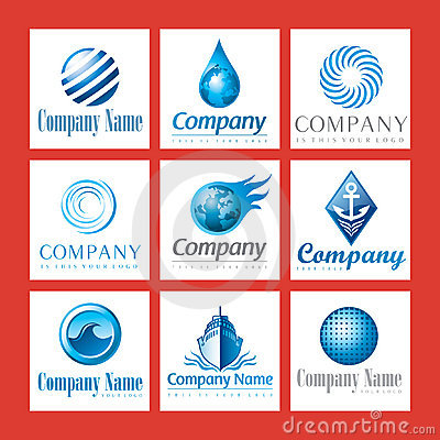 Company logos in blue