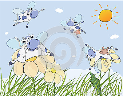 Cheerful cows cartoon