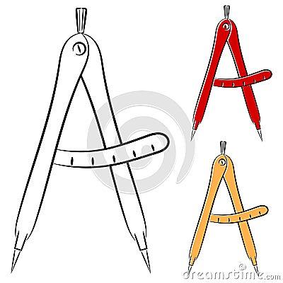 Compases de medición. eps10