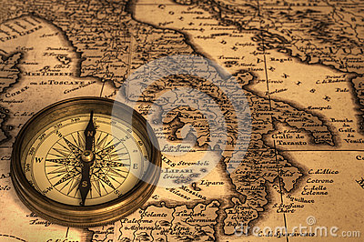 Compass and Ancient Map of Italy