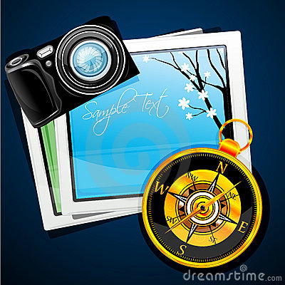 Compass with camera and pictures