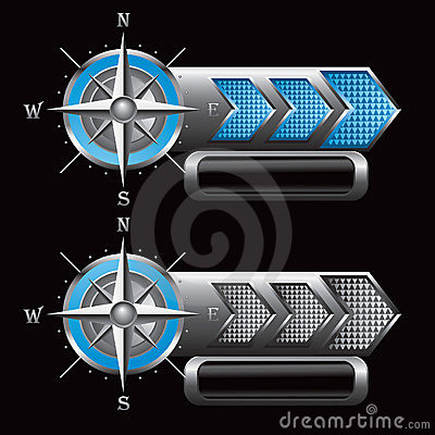 Compass on checkered blue and silver arrow ads