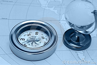 Compass and glass globe