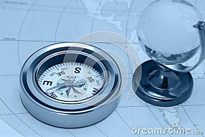 Compass and glass globe