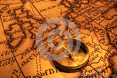 Compass and Map of UK and Europe
