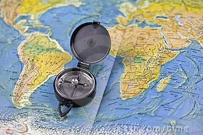 Compass and the map of the world